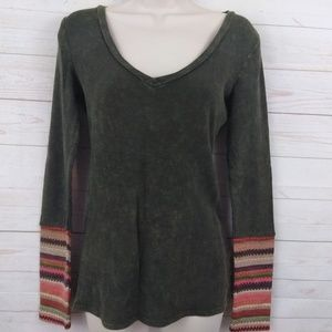 Others Follow Thermal Textured Bleach Dyed Boho M